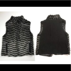 Chico's black faux fur vest NWOT